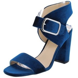 Shoes - Blue Velvet Chucky Heel Sandals